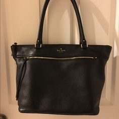 "KATE SPADE COBBLE HILL GINA TOTE Top zip closure, large exterior zip pocket, 2 interior slip pockets, 1 interior zip pocket, protective metal feet (slightly scuffed), black and white striped lining, 9"" shoulder strap drop (small scuff on inside of 1 strap), pebbled leather, 9/10 condition.  Original dust bag included.  MAKE AN OFFER.  no trades-no PP kate spade Bags Totes"