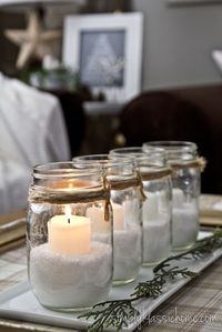 I could turn this idea into an Advent wreath. Non Traditional Advent Candles - Yellow Bliss Road - I have plenty of mason jars Winter Christmas, All Things Christmas, Christmas Home, Christmas Crafts, Christmas Candles, Christmas Ideas, Simple Christmas, Homemade Christmas, White Christmas Party Theme