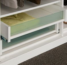 Display drawers with matte glass inserts
