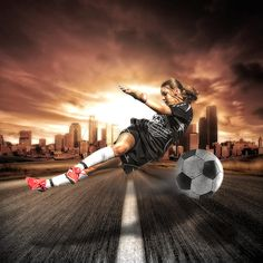 Now available : Soccer Girl - Small Print C-Type edition by Erik Brede - Action composite portrait of a teenage girl playing football (soccer). Outdoor shoot and Composite post processing. The outdoor shoot was taken when the girl. Soccer Pro, Soccer Players, Soccer Scores, Soccer Drills, Soccer Stuff, Football Stuff, Messi Gif, Life Coach Quotes, Workout Days