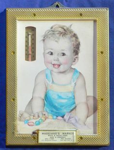 Framed Baby Boy thermometer in frame