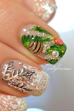 nail art noel sapin flocon