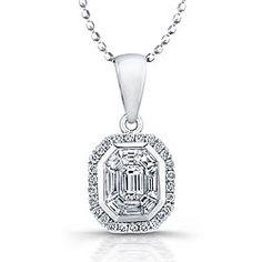 14k White Gold 1/2ct TDW Diamond Mosaic Halo Necklace
