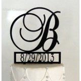 Monogram Cake Topper with Event Date Personalized with a B C D E F G H I J K L M N O P Q R S T U V W X Y Z * For more information, visit image link.