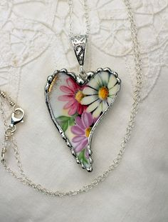 Broken China Jewelry Large Heart China by Robinsnestcreation1, $54.95