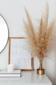 home decor minimalist pampas grass decor, minimali - Bedroom Minimalist, Minimalist Home Decor, Minimalist Wardrobe, Minimalist Living, Australian Home Decor, Australian Homes, Home Design, Interior Design, Design Design