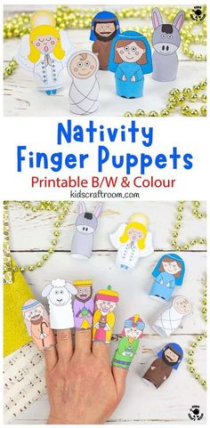 This lovely set of ten Nativity Finger Puppets to print is a wonderful way to bring the Christmas story to life. The printable Christmas finger puppets template comes in full colour and black and white for kids to enjoy colouring in and decorating themselves. It's a fun and gorgeous religious Christmas craft for kids. #kidscraftroom #kidscrafts #christmascrafts #nativity #nativitycrafts #fingerpuppets