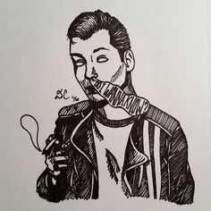 "deirdrecorrart/2016/10/06 13:26:21/""do i wanna know?"" Sketch of Alex Turner from Arctic Monkeys (@arctic.alx) #inktober #inktober2016 #sharpie #sharpieart #markers #blackandwhite #arcticmonkeys #alexturner #am #doiwannaknow"
