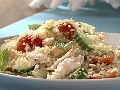 Get Israeli Couscous and Tuna Salad Recipe from Food Network Chicken Couscous Salad, Couscous Salad Recipes, Healthy Salad Recipes, Tuna Salad, Healthy Cooking, Cooking Recipes, Healthy Food, Healthy Eating, Mint Recipes