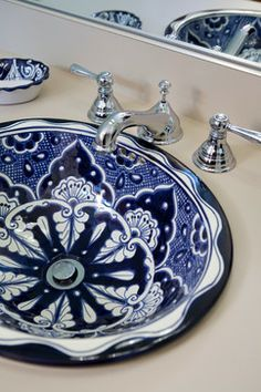 Moroccan style inset bowl sink.  Craftsman House - Built by Asheville custom homes builder, Brock Builders Inc.