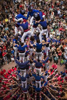 Members of the Castellers 'Vila de Gracia' form their famous human tower called a 'castell' in the Barcelona neighborhood of Gracia, Catalonia, Spain. A 'castell' is a human tower traditionally built during festivals in many places in Catalonia. During these festivals, several 'colles' or teams compete to build the most impressive towers they can.