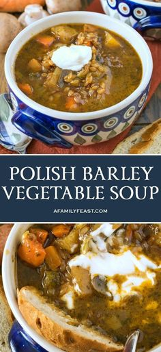 Our Polish Barley and Vegetable Soup is a delicious choice for a Meatless Monday meal! This soup is loaded with root vegetables and barley in a super flavorful broth. Bowl Of Soup, Soup And Salad, Vegetarian Recipes, Cooking Recipes, Healthy Polish Recipes, Vegetarian Soup, Bon Dessert, Turkey Soup, Turkey Broth