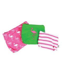 Another great find on #zulily! Flamingo Zip Pouch Set #zulilyfinds