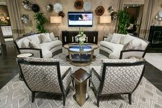 The new Hudson sofas and Lake Shore Drive console at #HPMKT, by #MargeCarson