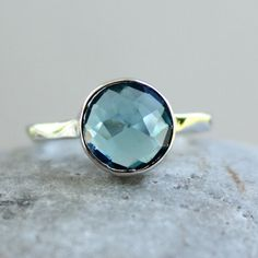 Gemstone Ring - London Blue Topaz Quartz - Sterling Silver, December Birthstone Ring on Etsy, $63.00