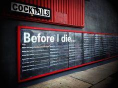 Quadro negro com uma lista de coisas a fazer antes de morrer. - do blog Sun Tzu e A Arte da Guerra (http://www.suntzulives.com/).