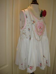 Summer Vintage White Battenburg Lace Baby Pink by PrettyUnusuall