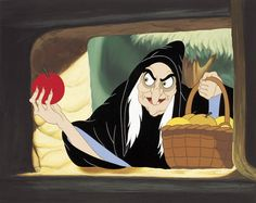 Evil queen, Grimhilde, disguised like old woman in Snow white and seven dwarfs
