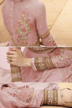 New collection of Indian dresses by Assiawedding creation With transparent sleeves Be careful the back bust is ALWAYS covered with lining just sleeves can be transparent A real perfect dress in hight quality chiffon with beautiful pakistani lace Touch of strass on the lace The dress is