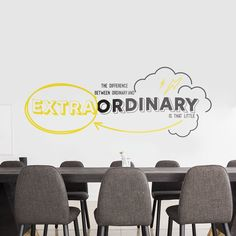 Extraordinary Office Wall Sticker Art by SirFace Graphics, the perfect gift for Explore more unique gifts in our curated marketplace. Office Wall Decals, Office Walls, Wall Decal Sticker, Wall Stickers, Corporate Office Decor, Corporate Offices, Office Open Plan, Creative Office Space, Traditional Tile