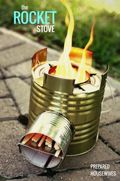 Build a rocket stove for outdoor cooking. It uses a little bit of fuel for a long fire.