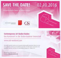 SAVE THE DATE: Besuchen Sie uns am 2. Oktober 2016 zum nächsten CAB #Weekend  #Contemporary #Art #Baden-Baden