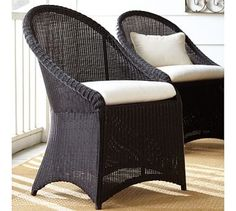 Palmetto All-Weather Wicker Dining Chair - Black #potterybarn