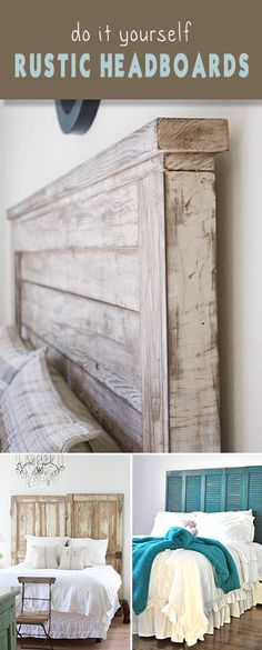 DIY Rustic Headboards Want some romance and charm for your bedroom? Make these DIY rustic headboards and beds! Easy step by step instructions fro each DIY headboard tutorial! Rustic Headboard Diy, Diy Headboards, Headboard Ideas, Bedroom Rustic, Turquoise Rustic Bedroom, Farmhouse Headboards, Teal Headboard, Furniture Projects, Home Projects