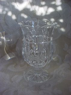 Cut Glass Vase Clear for Floral Centerpiece Weighty Pedestal style Seller florasgarden on ebay