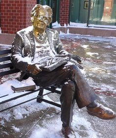 statue of Canadian literary critic Northrop Frye outside the Moncton Public Library in Moncton, New Brunswick, Canada