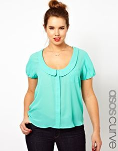 Image 1 of ASOS CURVE Blouse With Peter Pan Collar And Balloon Sleeve