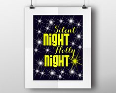 Holly Night, stars, silent night, holy night, Printable Wall Art, zen wall decor, Art Prints, Minimalist Print, Wall Decor Living Room #wallart #posters #inspirational