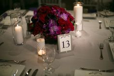 Simply adore these table numbers from a Chic Fall Wedding in Downtown Denver