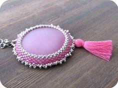 Pink Cat's Eye Cabochon Tassel Necklace-Boho Chic from Lilybiju by DaWanda.com