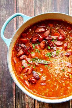 A delicious Lentil Soup with Parmesan and Smoked Sausage (still fantastic without the sausage)! A great winter meal idea! #healthyrecipes #healthydinner