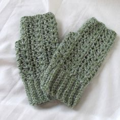 Crochet Fingerless Gloves Texting Gloves Sage by WildHeartYarnings