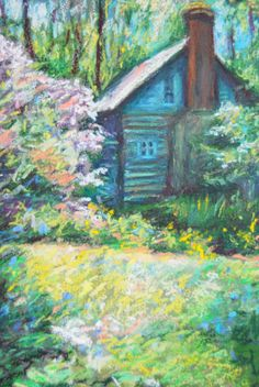 Cottage Garden, Card  Folded Notecard Paul Green Cabin by Bethany Bryant