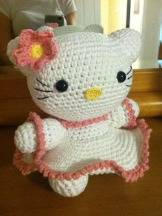 Hello Kitty  Crochet Doll by CrochetKnitWitch on Etsy, $40.00