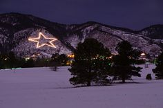 The Palmer Lake Star.I look forward to it every year :) Palmer Lake Colorado, Mountain High, Christmas Star, Home And Away, Rocky Mountains, Beautiful Images, Serenity, Places To Go, Spaces