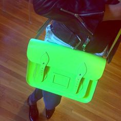 """Cambridge Satchel Company 13"""" Neon Yellow Bag. Good condition. Very clean inside. Normal wear on strap and around the curved parts of the structured leather. Awesome bag. Cambridge Satchel Bags Satchels"""