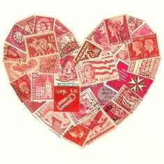 Stamp Love - Red Postage Stamp Heart Collage ❤ liked on Polyvore