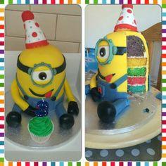 Rainbow Minion Cake
