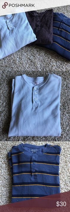 Merona men's long sleeve shirt Three men's Merona long sleeve shirt. White and blue are thermals, purple is regular t-shirt. No flaws, like new, slightly wrinkled from being folded. Offers welcome Merona Shirts Tees - Long Sleeve