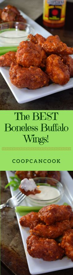 Put the phone down! No need to order wings for game days anymore! Use this recipe and make these delicious Boneless Buffalo Wings right in your own kitchen!