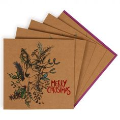 Reindeer glasses charity Christmas cards - pack of 8
