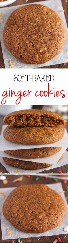 These Soft-Baked Ginger Cookies are the chewiest you'll ever make! Made with NO refined flour or sugar, but they don't taste healthy at all! All clean eating ingredients are used for this healthy dessert recipe. Healthy Cookies, Healthy Sweets, Yummy Cookies, Healthy Baking, Healthy Christmas Cookies, Soft Baked Cookies, Soft Ginger Cookies, Healthy Biscuits, Honey Cookies