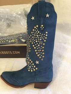 American Rebel Boot Co Elvis The King Blue Suede Boot Eagle Rivets Women's