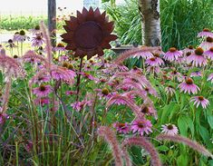 Rustic metal sunflower surrounded by a garden of purple cone flowers @ Smiths Country Gardens Garden Paths, Will Smith, Photo Galleries, Path Ideas, Gardens, Rustic, Country, Purple, Gallery