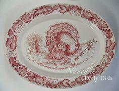 Nancy's Daily Dish: Turkey Transferware Vignette, Plates & Platters and the History Behind Them #claricecliff #royalstaffordshire #transferware #platter #antique #nancysdailydish #serving #entertaining