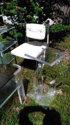 Brody lucite chair, lucite plant stand